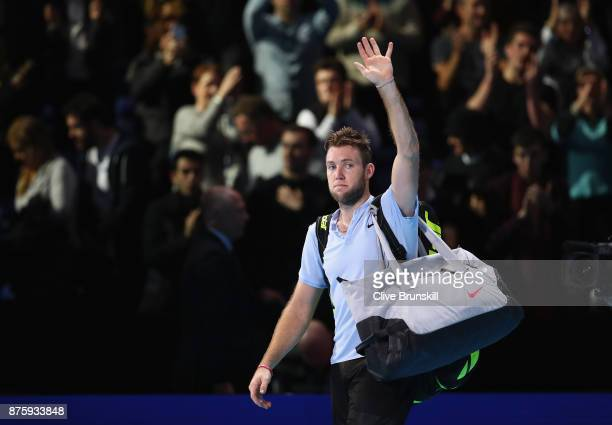 Jack Sock of the United States waves goodbye to the crowd after his three set defeat in his semi final match by Grigor Dimitrov of Bulgaria at the...