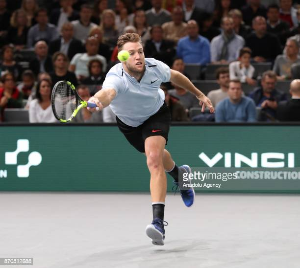 Jack Sock of the US returns to Filip Krajinovic of Serbia during their final match at the Paris Masters tennis tournament at the Bercy Arena in Paris...