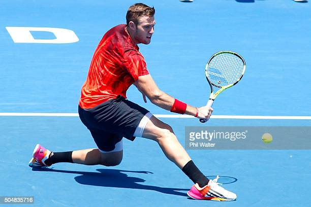 Jack Sock of the USA plays a backhand in his singles match against Kevin Anderson of South Africa during the 2016 ASB Classic at the ASB Tennis Arena...