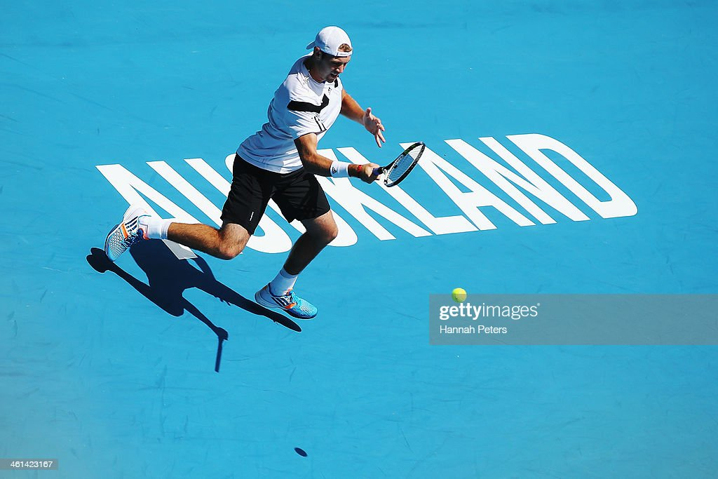 <a gi-track='captionPersonalityLinkClicked' href=/galleries/search?phrase=Jack+Sock&family=editorial&specificpeople=7157137 ng-click='$event.stopPropagation()'>Jack Sock</a> of the USA plays a forehand against Roberto Bautista Agut of Spain during day four of the Heineken Open at ASB Tennis Centre on January 9, 2014 in Auckland, New Zealand.