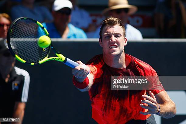 Jack Sock of the USA plays a forehand during his singles final against Roberto Bautista Agut of Spain on day six of the ASB Classic at the Stanley...
