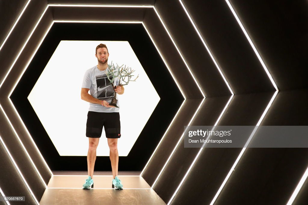 Jack Sock of the USA poses with the trophy in the players tunnel after victory against Filip Krajinovic of Serbia in the Mens Final on day 7 of the Rolex Paris Masters held at the AccorHotels Arena on November 5, 2017 in Paris, France.