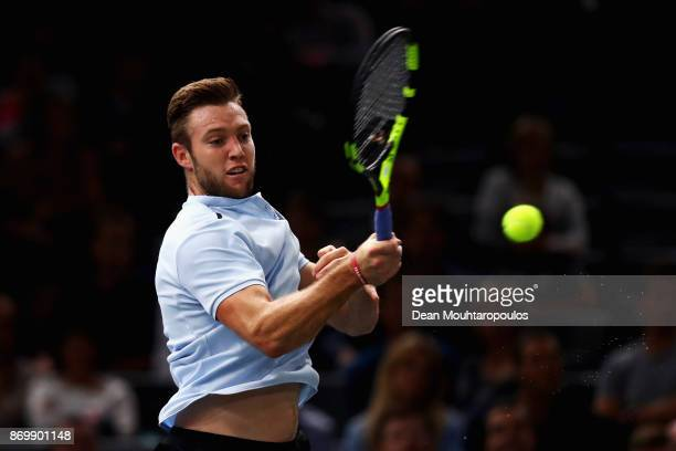 Jack Sock of the USA returns a forehand against Fernando Verdasco of Spain during Day 5 of the Rolex Paris Masters held at the AccorHotels Arena on...