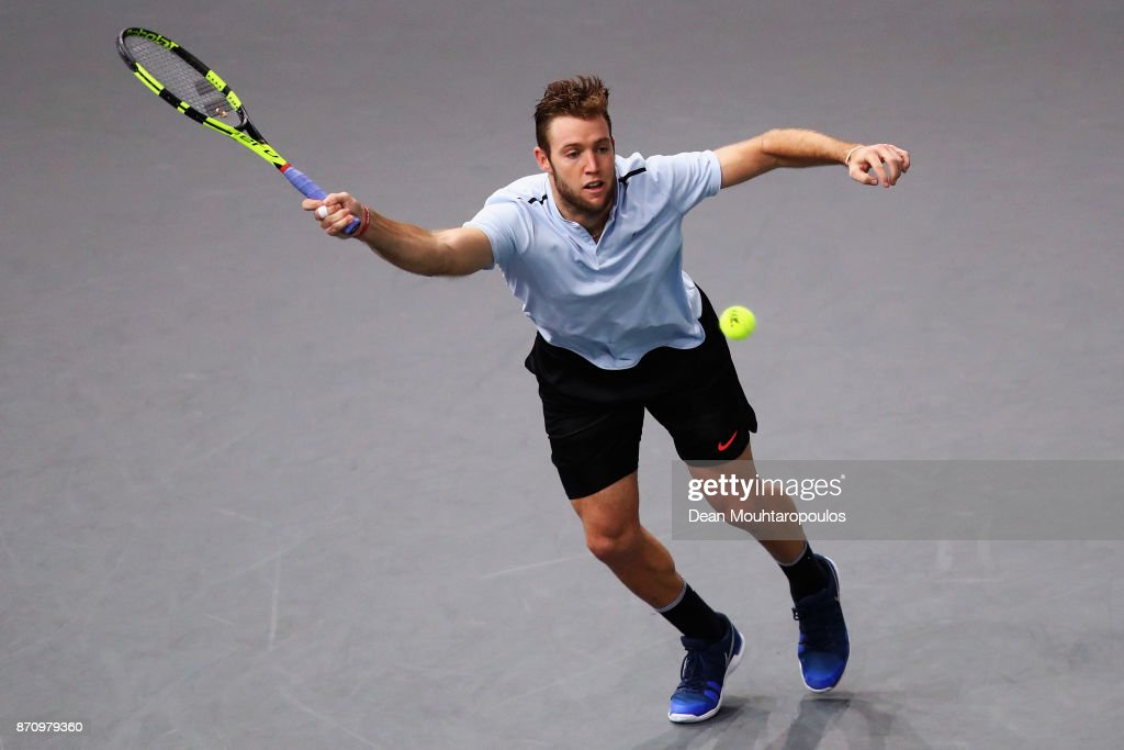 Jack Sock of the USA returns a forehand against Filip Krajinovic of Serbia during the Mens Final on day 7 of the Rolex Paris Masters held at the AccorHotels Arena on November 5, 2017 in Paris, France.
