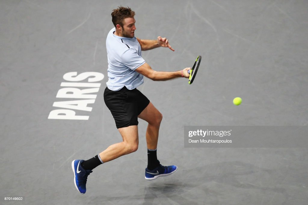 Jack Sock of the USA returns a forehand against Julien Benneteau of France during their semi final on day 6 of the Rolex Paris Masters held at the AccorHotels Arena on November 4, 2017 in Paris, France.