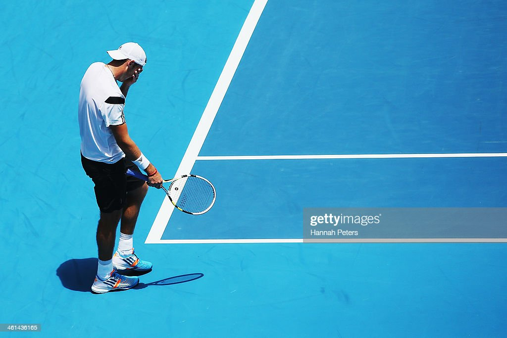 Jack Sock of the USA shows his disappointment after losing a game against Roberto Bautista Agut of Spain during day four of the Heineken Open at ASB Tennis Centre on January 9, 2014 in Auckland, New Zealand.