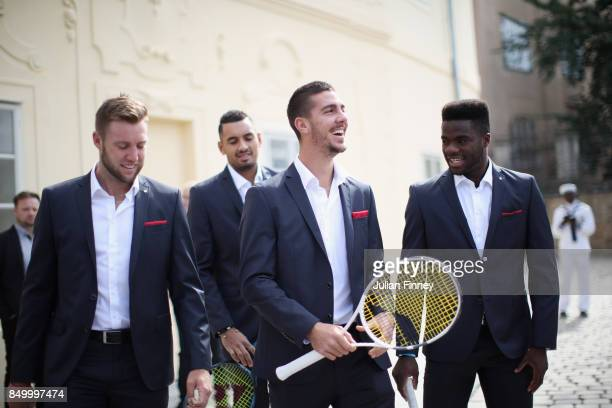 Jack Sock of United States Nick Kyrgios of Australia Thanasi Kokkinakis of Australia and Frances Tiafoe of United States during a photoshoot ahead of...