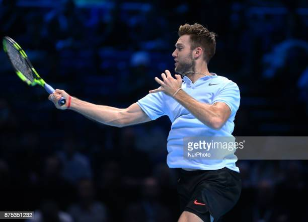 Jack Sock of USA against Alexander Zverev of Germany during Day five of the Nitto ATP World Tour Finals played at The O2 Arena London on November 16...
