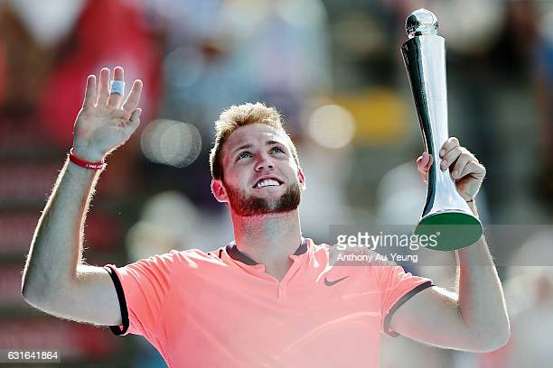 Jack Sock of USA celebrates with his trophy after winning his singles final match against Joao Sousa of Portugal on day 13 of the ASB Classic on...