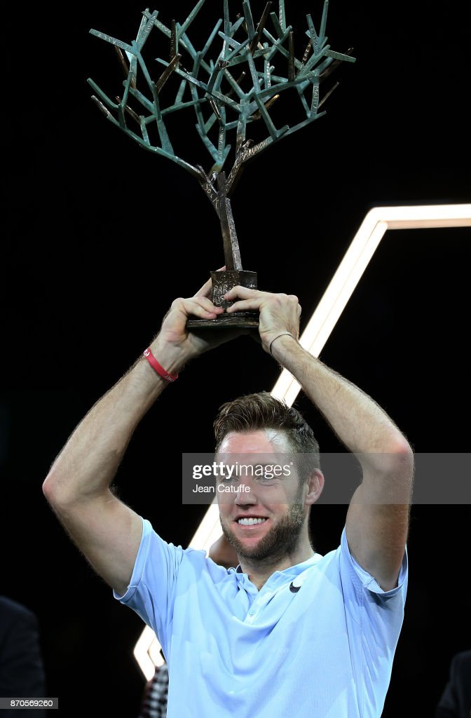 Jack Sock of USA holds the trophy following his victory in final against Filip Krajinovic of Serbia on day 7 of the Rolex Paris Masters 2017, a Masters 1000 ATP World Tour event held at AccorHotels Arena on November 5, 2017 in Paris, France.