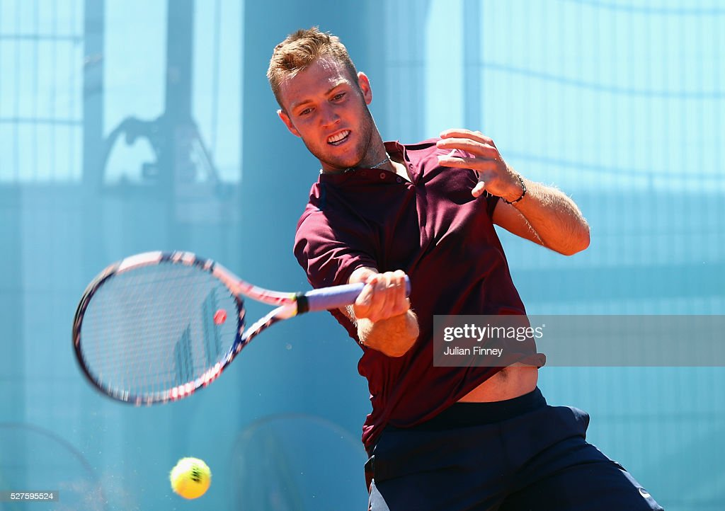<a gi-track='captionPersonalityLinkClicked' href=/galleries/search?phrase=Jack+Sock&family=editorial&specificpeople=7157137 ng-click='$event.stopPropagation()'>Jack Sock</a> of USA in action against Benoit Paire of France during day four of the Mutua Madrid Open tennis tournament at the Caja Magica on May 03, 2016 in Madrid, Spain.