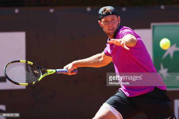 Jack Sock of USA in action during his first round match against Diego Schwartzman of Argentina on Day Three of The Internazionali BNL d'Italia 2017...