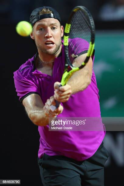 Jack Sock of USA in action during the men's third round match against Rafael Nadal of Spain on Day Five of the Internazionali BNL d'Italia 2017 at...