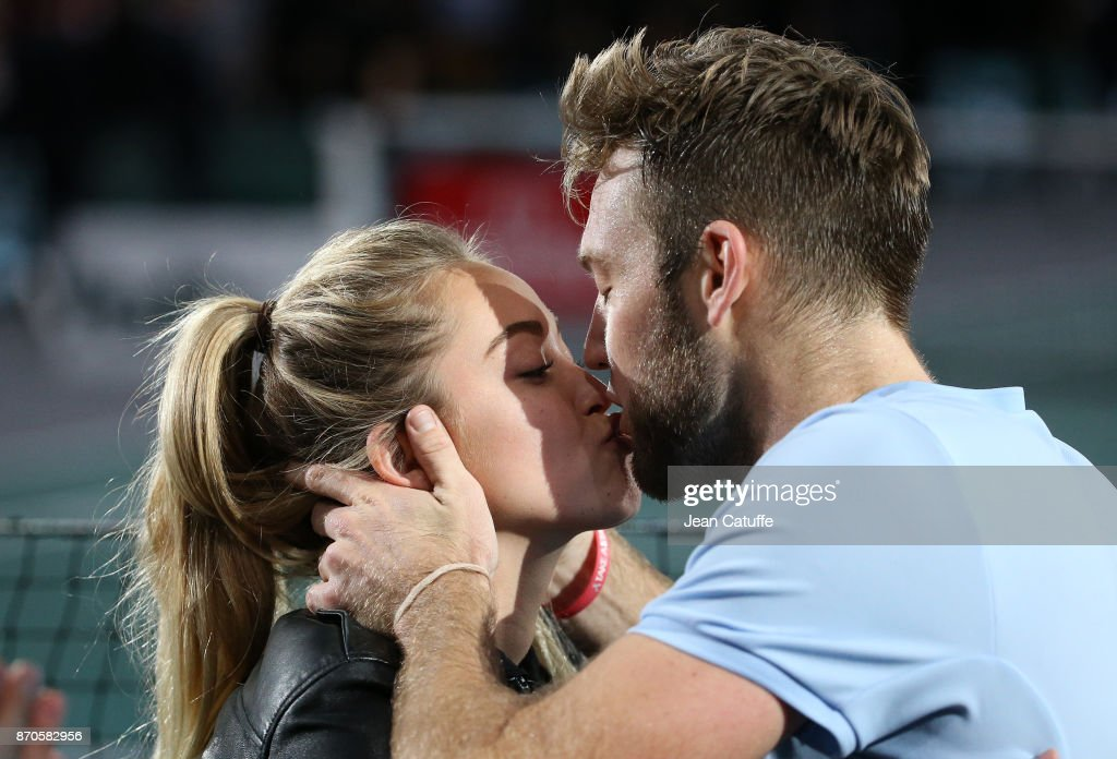 Jack Sock of USA kisses his girlfriend Michala Burns following winning the final against Filip Krajinovic of Serbia on day 7 of the Rolex Paris Masters 2017, a Masters 1000 ATP World Tour event held at AccorHotels Arena on November 5, 2017 in Paris, France.