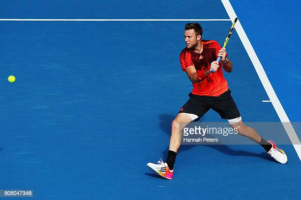 Jack Sock of USA plays a backhand during his semi final match against David Ferrer of Spain during day five of the 2016 ASB Classic at the ASB Tennis...