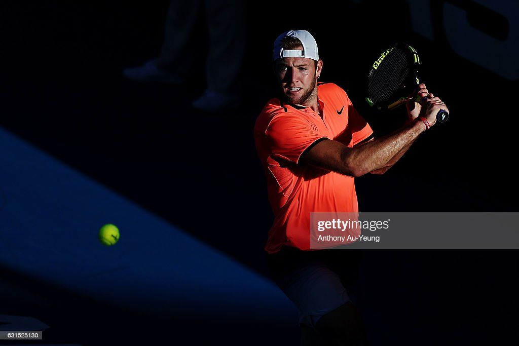 Jack Sock of USA plays a backhand in his match against Jeremy Chardy of France on day 11 of the ASB Classic on January 12, 2017 in Auckland, New Zealand.