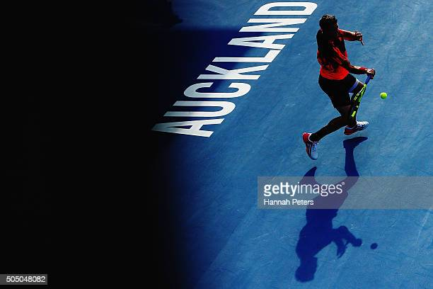 Jack Sock of USA plays a forehand during his semi final match against David Ferrer of Spain during day five of the 2016 ASB Classic at the ASB Tennis...