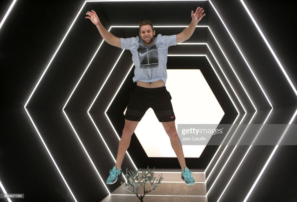 Jack Sock of USA poses with the trophy after winning the final against Filip Krajinovic of Serbia on day 7 of the Rolex Paris Masters 2017, a Masters 1000 ATP World Tour event held at AccorHotels Arena on November 5, 2017 in Paris, France.