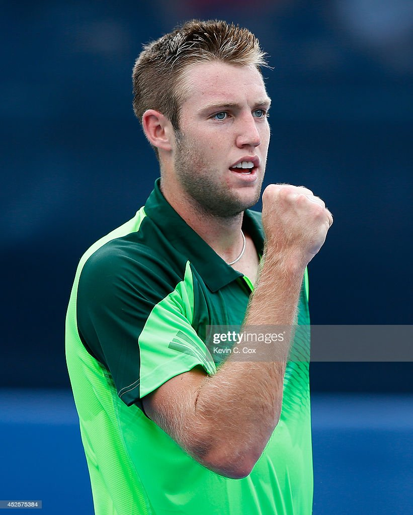 Jack Sock reacts after a point against Michael Venus of New Zealand during the BB&T Atlanta Open at Atlantic Station on July 23, 2014 in Atlanta, Georgia.