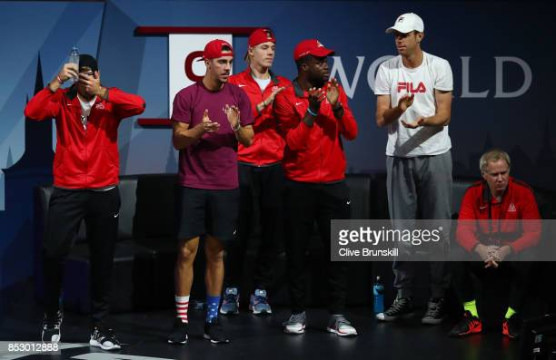 Jack Sock Thanasi Kokkinakis Denis Shapovalov Frances Tiafoe Sam Querrey and Patrick Mcenroe watch Federer of Team Europe during his mens singles...