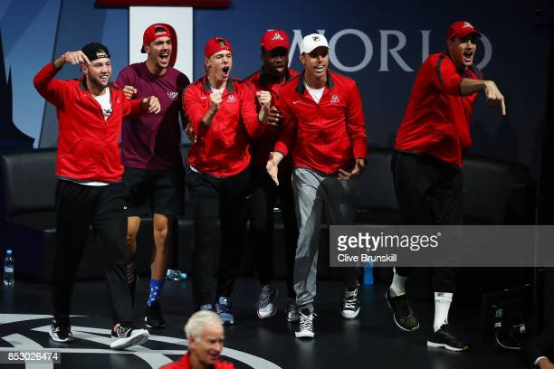 Jack Sock Thanasi Kokkinakis Denis Shapovalov Frances Tiafoe Sam Querrey and John Isner of Team World watch Nick Kyrgios of Team World as he...