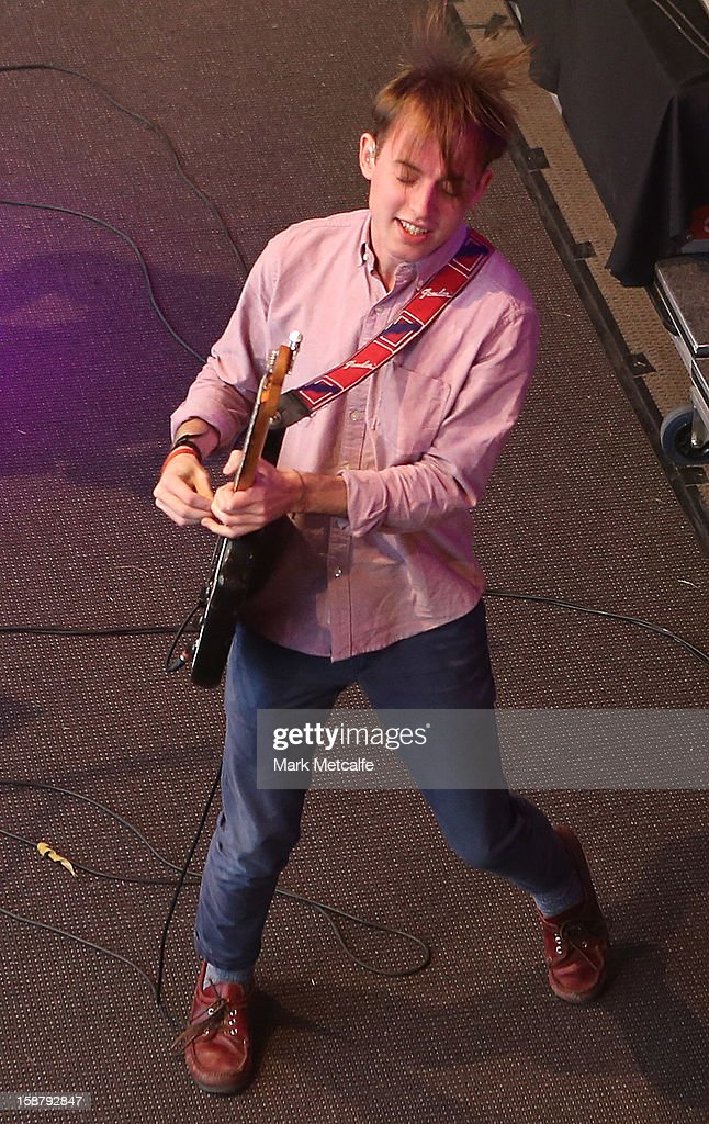 Jack Steadman of Bombay Bicycle Club performs live on stage at The Falls Music and Arts Festival on December 29, 2012 in Lorne, Australia.