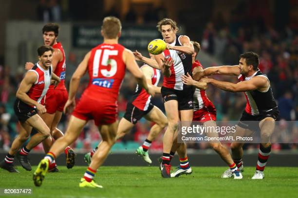 Jack Steele of the Saints handpasses during the round 18 AFL match between the Sydney Swans and the St Kilda Saints at Sydney Cricket Ground on July...