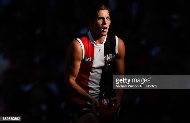 Jack Steele of the Saints in action during the 2017 AFL round 09 match between the St Kilda Saints and the Sydney Swans at Etihad Stadium on May 20...