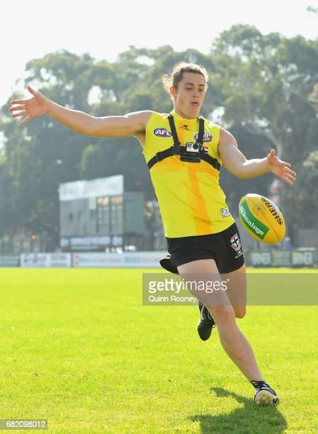 Jack Steele of the Saints kicks during a St Kilda Saints AFL training session at Trevor Barker Beach Oval on May 12 2017 in Melbourne Australia