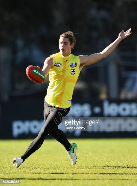 Jack Steele of the Saints kicks during a St Kilda Saints AFL training session at Trevor Barker Beach Oval on June 20 2017 in Melbourne Australia
