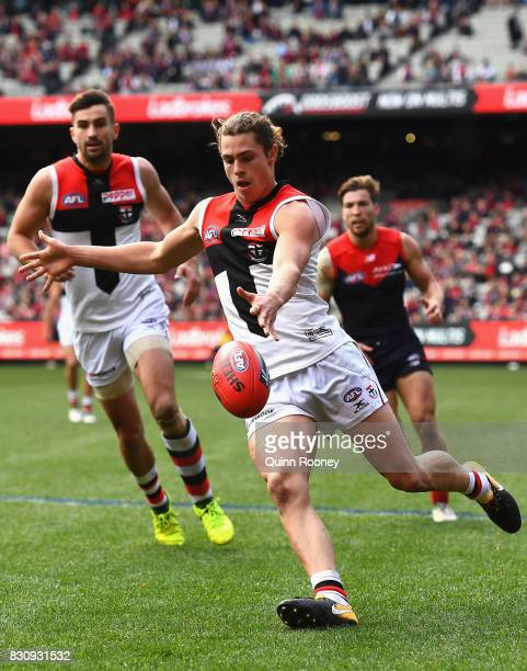 Jack Steele of the Saints kicks during the round 21 AFL match between the Melbourne Demons and the St Kilda Saints at Melbourne Cricket Ground on...