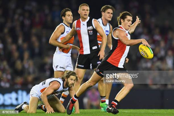 Jack Steele of the Saints kicks during the round seven AFL match between the St Kilda Saints and the Greater Western Sydney Giants at Etihad Stadium...