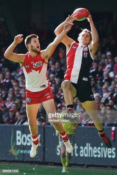 Jack Steele of the Saints marks the ball against Nic Newman of the Swans during the round nine AFL match between the St Kilda Saints and the Sydney...
