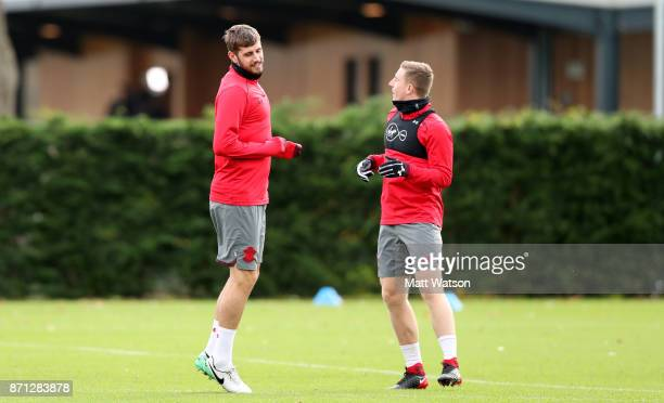 Jack Stephens and Matt Targett during a Southampton FC training session at the Staplewood Campus on November 7 2017 in Southampton England