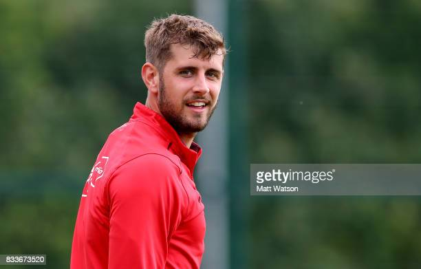 Jack Stephens during a Southampton FC training session at the Staplewood Campus on August 17 2017 in Southampton England