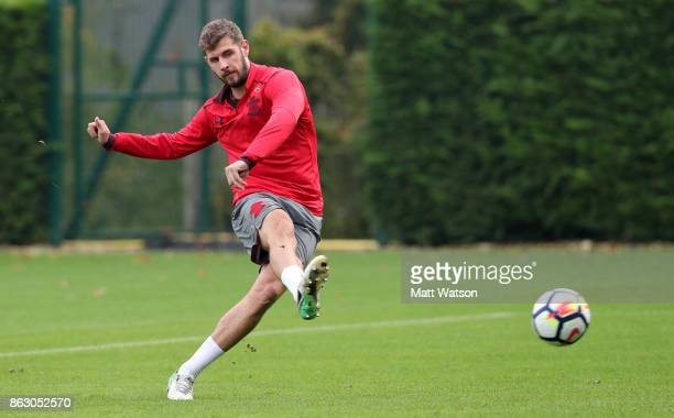 Jack Stephens during a Southampton FC training session at the Staplewood Campus on October 19 2017 in Southampton England