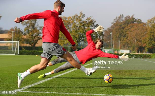 Jack Stephens of Southampton beats Stuart Taylor during a Southampton FC training session at the Staplewood Campus on November 2 2017 in Southampton...