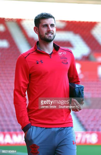 Jack Stephens of Southampton FC arriving ahead of the Premier League match between Southampton and Manchester United at St Mary's Stadium on...