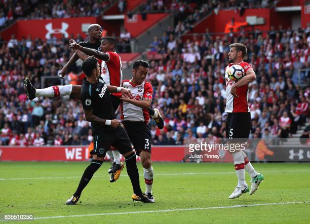 Jack Stephens of Southampton handles the ball in the box during the Premier League match between Southampton and West Ham United at St Mary's Stadium...