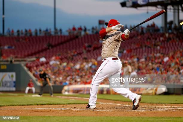 Jack Stephens of the Cincinnati Reds takes an at bat during the game against the St Louis Cardinals at Great American Ball Park on September 19 2017...