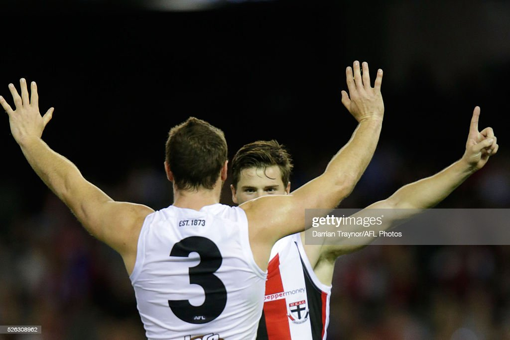 Jack Steven and Jack Sinclair of the Saints celebrate a goal during the round six AFL match between the Melbourne Demons and the St Kilda Saints at Etihad Stadium on April 30, 2016 in Melbourne, Australia.