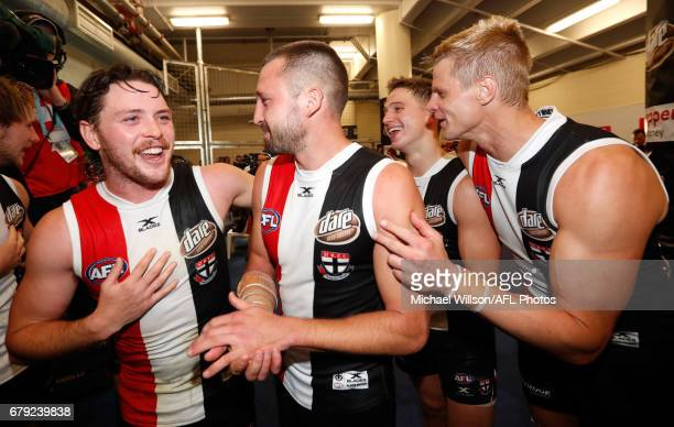 Jack Steven Jarryn Geary Jack Billings and Nick Riewoldt of the Saints celebrate during the 2017 AFL round 07 match between the St Kilda Saints and...