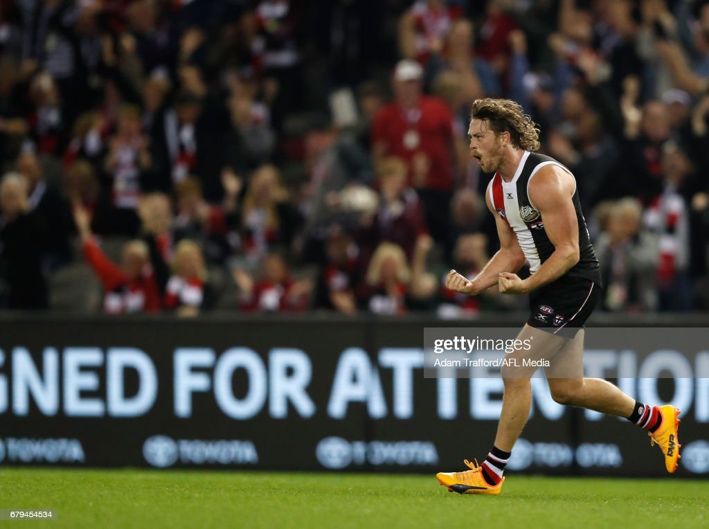 Jack Steven of the Saints celebrates a goal during the 2017 AFL round 07 match between the St Kilda Saints and the GWS Giants at Etihad Stadium on May 05, 2017 in Melbourne, Australia.