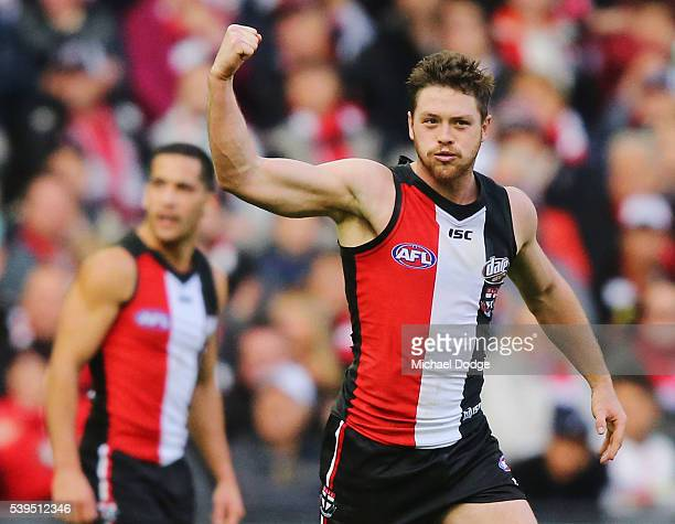 Jack Steven of the Saints celebrates a goal during the round 12 AFL match between the St Kilda Saints and the Carlton Blues at Etihad Stadium on June...