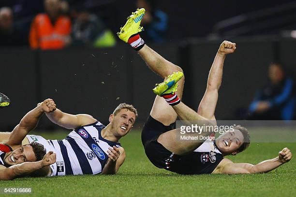 Jack Steven of the Saints celebrates a goal during the round 14 AFL match between the St Kilda Saints and the Geelong Cats at Etihad Stadium on June...