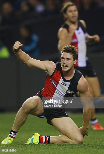 Jack Steven of the Saints celebrates the winning goal during the round 14 AFL match between the St Kilda Saints and the Geelong Cats at Etihad...
