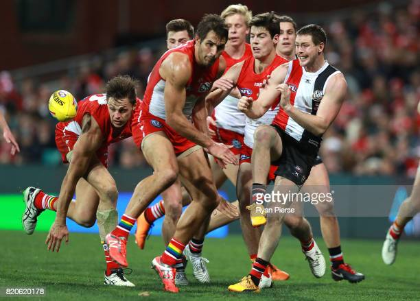 Jack Steven of the Saints kicks during the round 18 AFL match between the Sydney Swans and the St Kilda Saints at Sydney Cricket Ground on July 22...