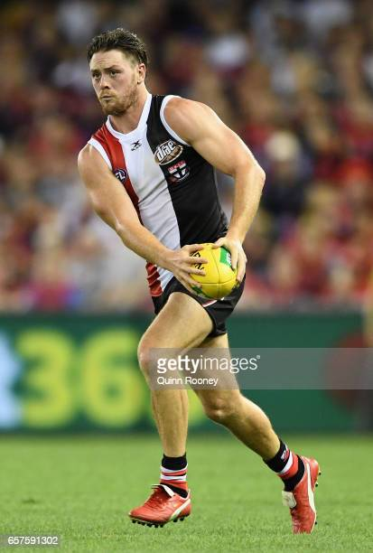 Jack Steven of the Saints kicks during the round one AFL match between the St Kilda Saints and the Melbourne Demons at Etihad Stadium on March 25...