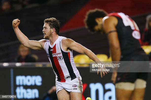 Jack Steven of the Saints kicks the match sealing goal during the round 16 AFL match between the Essendon Bombers and the St Kilda Saints at Etihad...