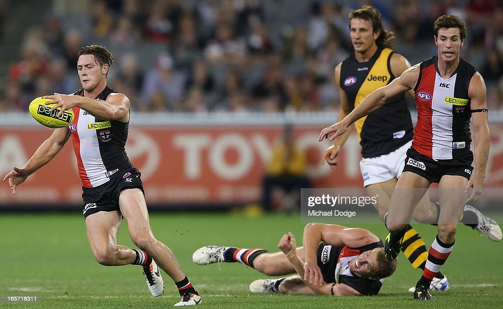Jack Steven of the Saints runs with the ball during the round two AFL match between the St Kilda Saints and the Richmond Tigers at Melbourne Cricket Ground on April 5, 2013 in Melbourne, Australia.